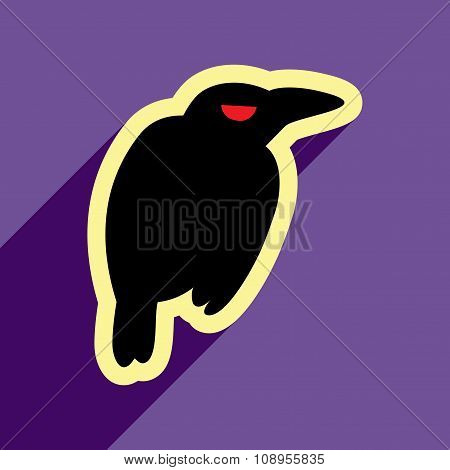 Flat with shadow Icon crow bright background