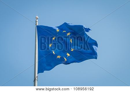 Flag Of The European Union Against Blue Sky