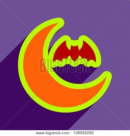 Flat with shadow Icon  moon and bat on colored background