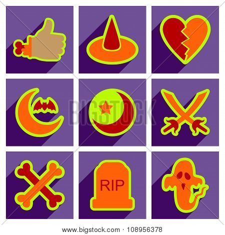 Flat with shadow concept Halloween Icons on a stylish background