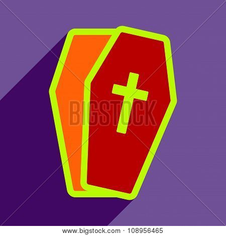 Flat with shadow Icon open coffin on a colored background