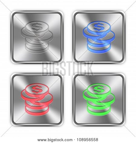 Color Coins Steel Buttons