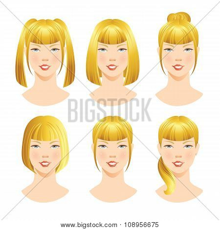 Different hairstyles with bangs.