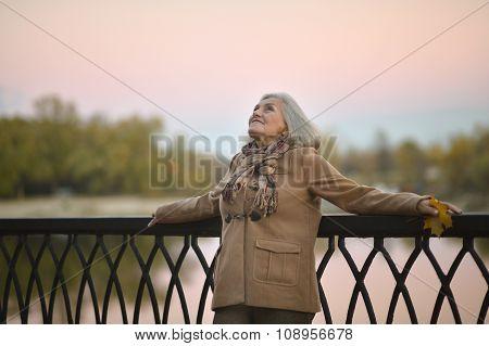 senior Woman near river