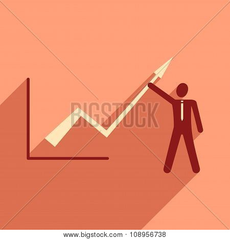 Modern flat icon with shadow Man and graph
