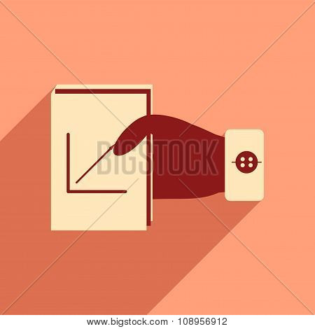 Modern flat icon with shadow economic report in hand