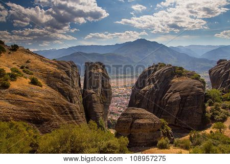 Meteora. View Of The Valley Through The Powerful Cliffs