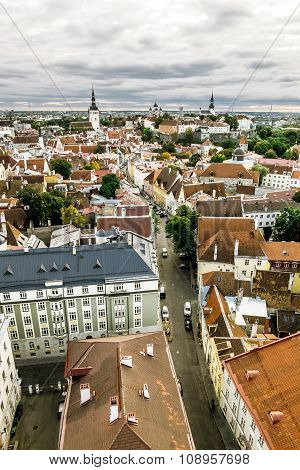 The View From The Top Of The Cathedral Of St. Olaf  In Old Tallinn At Sunset.