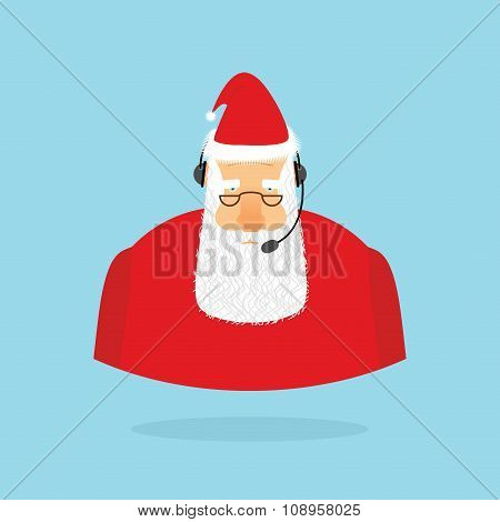 Christmas Call Center. Santa Claus And Headset. Santa Responds To Phone Calls. Customer Service From