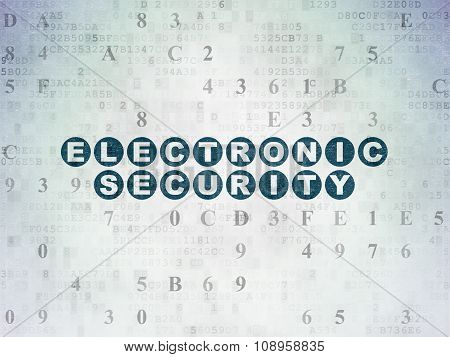 Protection concept: Electronic Security on Digital Paper background