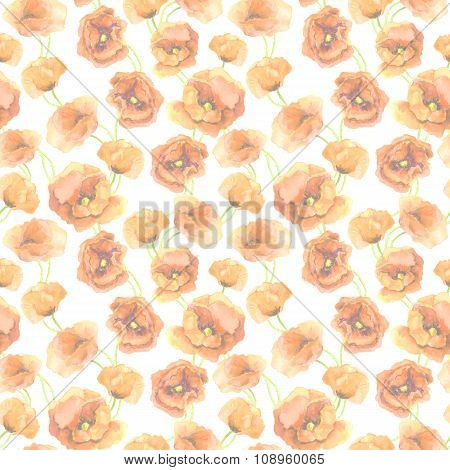 Seamless pastel floral pattern with red poppy flowers. Delicate watercolor painted art