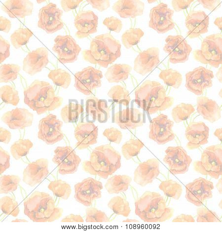 Vintage pastel floral seamless wallpaper with light red poppy flowers. Aquarelle painted drawing