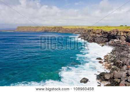 Rocky Coast Line Of Big Island, Hawaii.