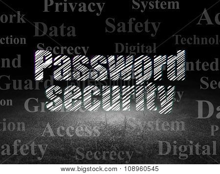 Privacy concept: Password Security in grunge dark room