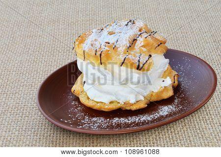 Cream Puff With Vanilla Custard And Whipped Cream