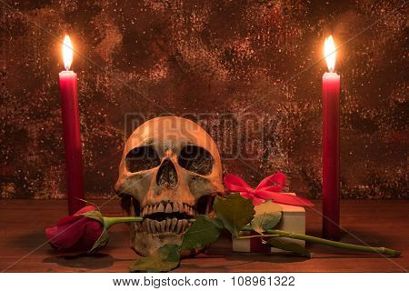 Still Life Painting Photography With Human Skull, Present, Rose And Candle On Wooden Table