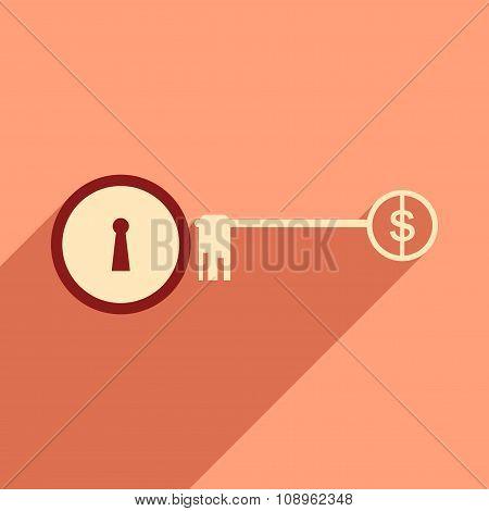 Modern flat icon with shadow key money