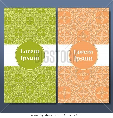 Template Set Of Cards. Ornamental Borders And Patterned Background. Mandala. Frame For Greeting Card
