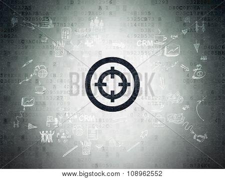 Business concept: Target on Digital Paper background