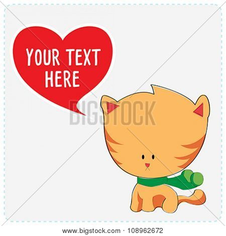 Cartoon cute cat with heart symbol. Vector Illustration