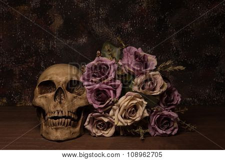 Still Life Painting Photography With Human Skull And Rose On Wooden Table