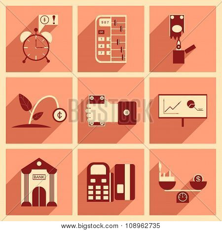 Modern collection flat icons with shadow economy