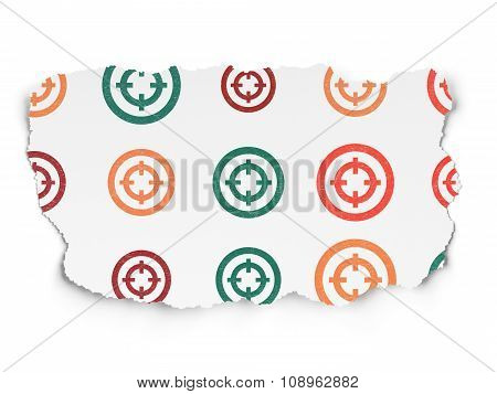 Finance concept: Target icons on Torn Paper background