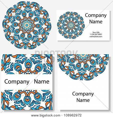 Business cards collection. Ornament for your design with lace mandala. Vector background. Indian, Ar