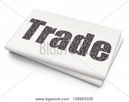 Business concept: Trade on Blank Newspaper background