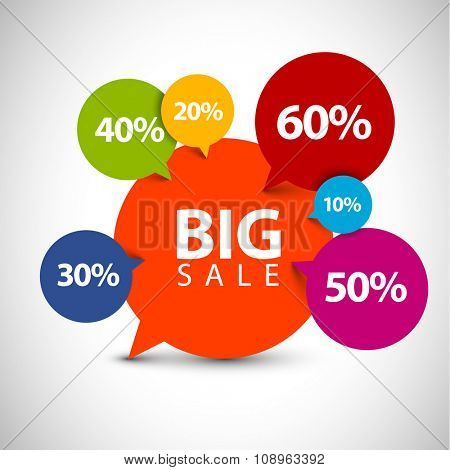 Speech bubble pointer for sale item - various percentage discount