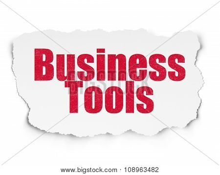 Business concept: Business Tools on Torn Paper background