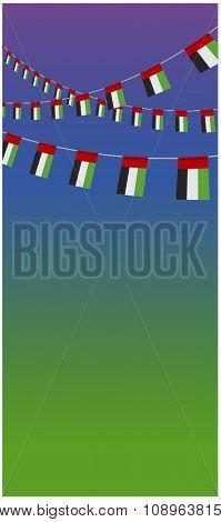 UAE national day background. Vector design of flag hanging banner.
