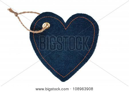 Price Tag Made Of Denim In The Form Of Heart