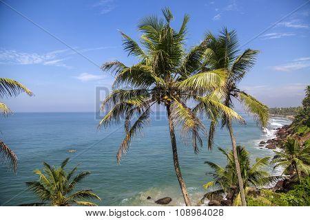 Sea In Varkala In Kerala State, India