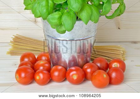 Tomatoes, Basil And Bunch Of Spaghetti
