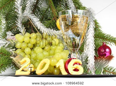 Champagne And Grapes For The New Year