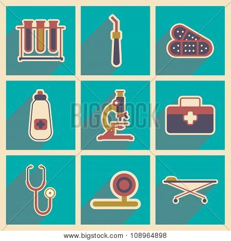 Icons of medical instruments and medicament in flat style