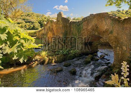 Lovers Bridge Over River Avill, Dunster Castle, Somerset, England