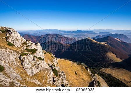 Scenic View Of Colorful Misty Mountain Hills In Fall