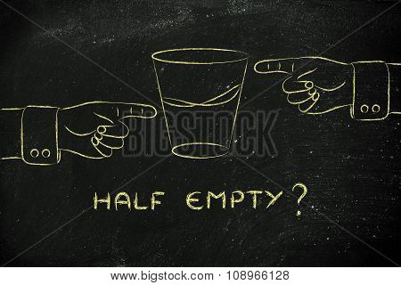 Glass Of Water And Hands Pointing, With Text Half Empty?