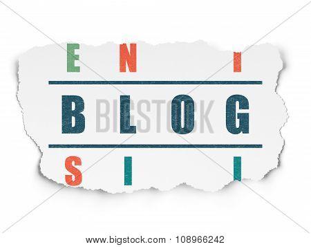 Web development concept: Blog in Crossword Puzzle