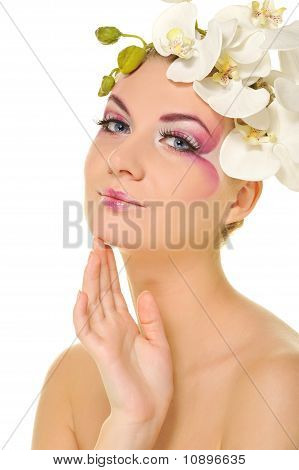 Beautiful woman with creative make-up
