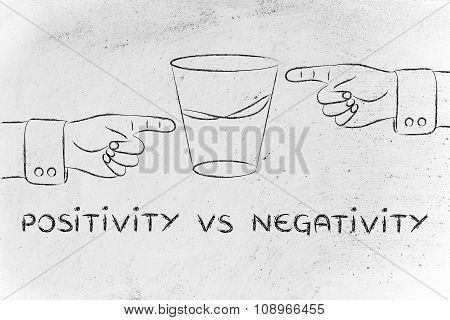 Glass Of Water And Hands Pointing, With Text Positivity Vs Negativity