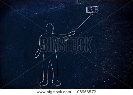 Person Taking A Photo With Phone On Selfie Stick
