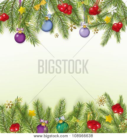 Christmas Background With Bows, Streamers, Stars, Christmas Balls. Vector Illustration
