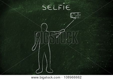 Person Taking A Photo With Smartphone On A Stick, With Text Selfie