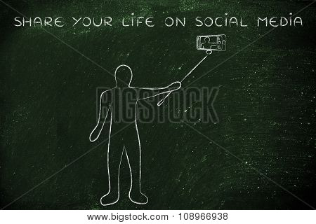 Person Taking A Photo With Phone, With Text Share Your Life On Social Media