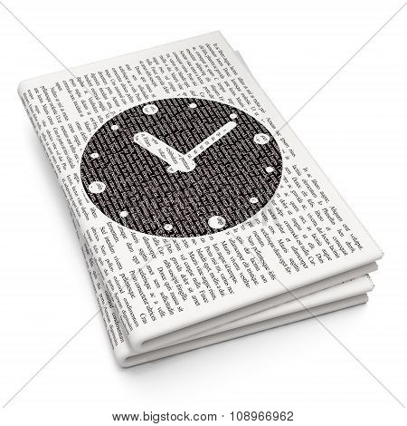 Time concept: Clock on Newspaper background