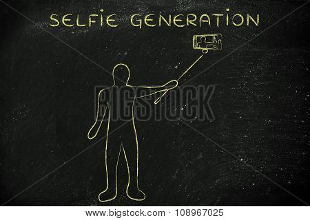 Person Taking A Photo With Phone, With Text Selfie Generation