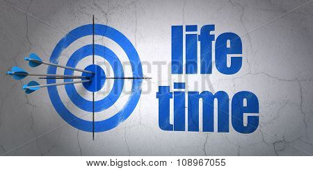Time concept: target and Life Time on wall background